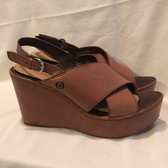 e7c97331ab8 Born Shoes - Born Emmy Wedge Heels tan leather size 8 Women s